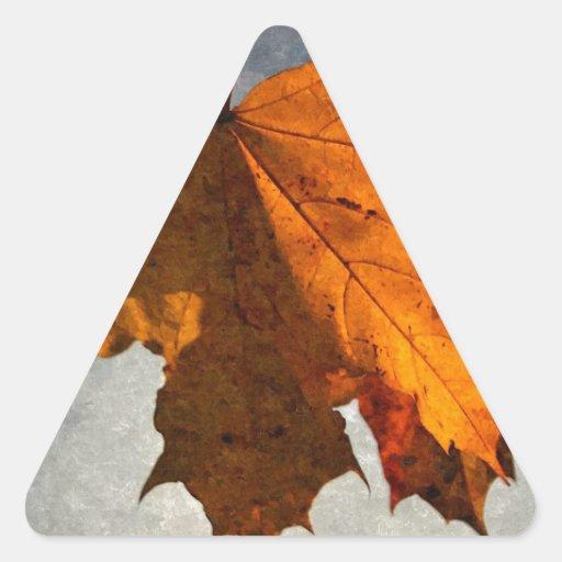 Autumn Leaf Artwork Triangle Stickers