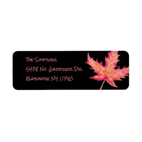 Autumn leaf Black Address Labels