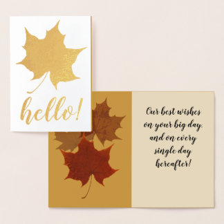 Autumn Leaf Custom Text Foil Card