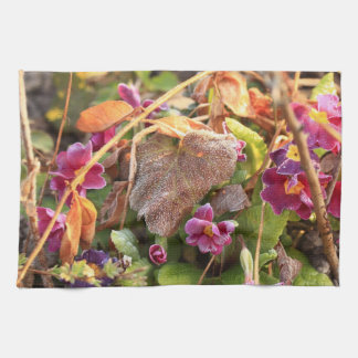 autumn leaf in early spring kitchen towel