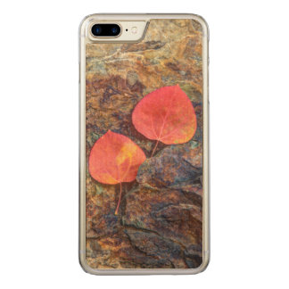Autumn leaf on rock, California Carved iPhone 7 Plus Case