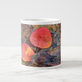 Autumn leaf on rock, California Large Coffee Mug