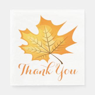 Autumn Leaf Orange Thank You Rustic Wedding Disposable Napkin