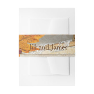 Autumn Leaf Orange Wedding Invitation Belly Band