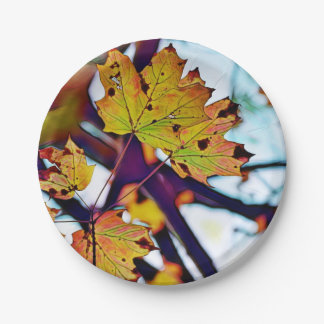Autumn Leaf Paper Plate - Leaves with Quote