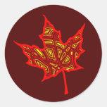 Autumn Leaf Round Sticker
