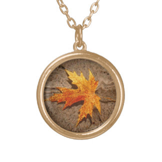 Autumn Leaf & Sand Gold Plated Necklace