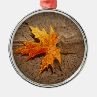 Autumn Leaf & Sand Silver-Colored Round Ornament