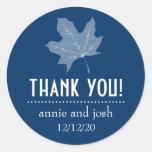 Autumn Leaf Thank You Labels (Dark Blue) Round Sticker