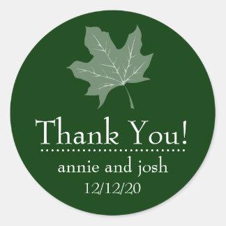 Autumn Leaf Thank You Labels (Forest Green) Round Sticker