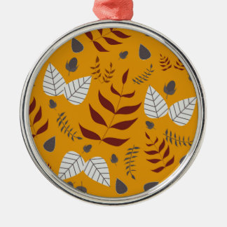 Autumn leafs and acorns metal ornament