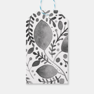 Autumn leafs - black and white gift tags