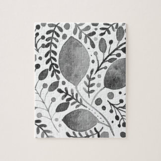 Autumn leafs - black and white jigsaw puzzle
