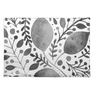 Autumn leafs - black and white placemat