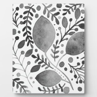 Autumn leafs - black and white plaque