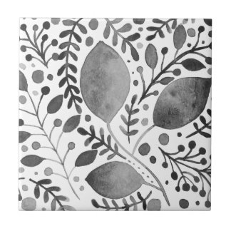 Autumn leafs - black and white tile
