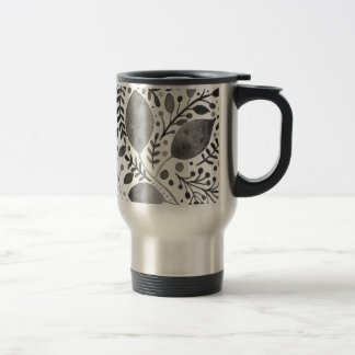 Autumn leafs - black and white travel mug