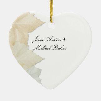 Autumn Leaves, A Fall Wedding Romantic Heart Ceramic Ornament