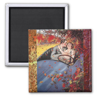 Autumn Leaves and a Convertible Vintage Magnet