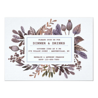 Autumn Leaves and Berries Invitation