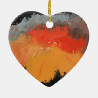 Autumn leaves and birds ceramic heart ornament