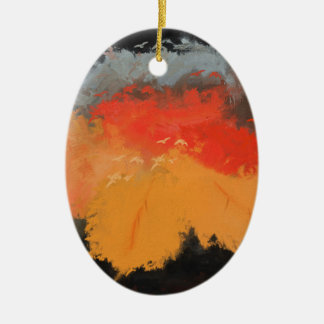 Autumn leaves and birds ceramic oval ornament