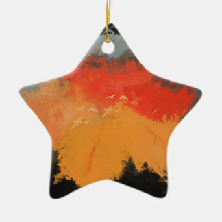 Autumn leaves and birds ceramic star ornament