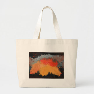 Autumn leaves and birds large tote bag