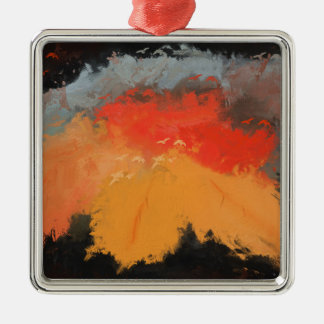 Autumn leaves and birds Silver-Colored square ornament