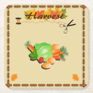 Autumn Leaves and Harvest Square Paper Coaster