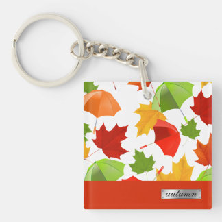 Autumn Leaves and Umbrellas Keychain