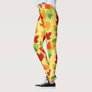Autumn Leaves and Umbrellas Leggings