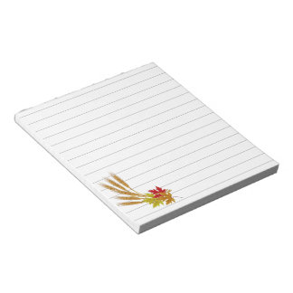 Autumn leaves and wheat notepad