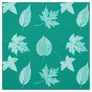 Autumn leaves - aqua and turquoise fabric