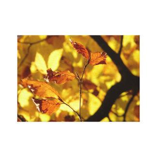 Autumn leaves Beach Art Print yellow
