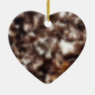 Autumn Leaves - Blurred Ceramic Heart Ornament