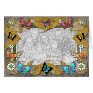 Autumn Leaves Butterfly Template Greeting Card