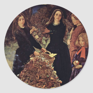 Autumn Leaves By Millais John Everett Classic Round Sticker