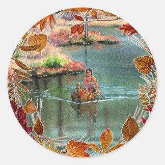 AUTUMN LEAVES CANOE by SHARON SHARPE Round Sticker