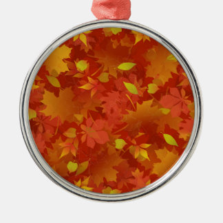 Autumn Leaves Carpet Silver-Colored Round Ornament
