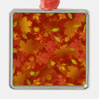 Autumn Leaves Carpet Silver-Colored Square Ornament