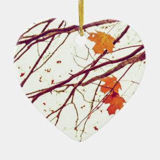 Autumn Leaves Ceramic Heart Ornament