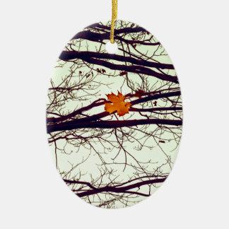 Autumn Leaves Ceramic Oval Ornament
