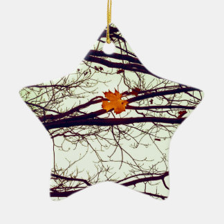 Autumn Leaves Ceramic Star Ornament