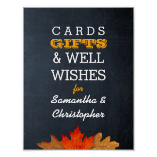 Autumn Leaves Chalkboard Wedding Gift Table Sign