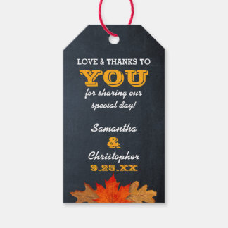 Autumn Leaves & Chalkboard Wedding Thank You Tags