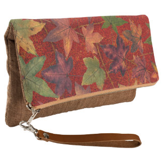 Autumn Leaves Cinnamon Linen Fold-Over Clutch