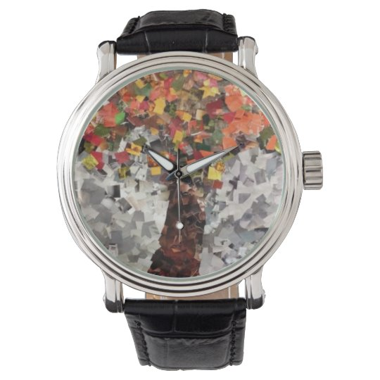 Autumn Leaves Collage Watch by Willowcatdesigns