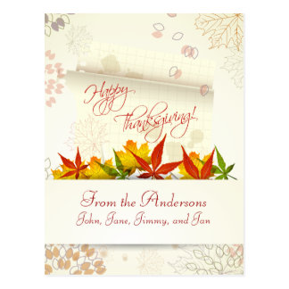 Autumn Leaves Customizable Thanksgiving Postcard