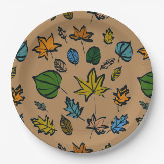 Autumn Leaves Design on Paper Plates 9 Inch Paper Plate